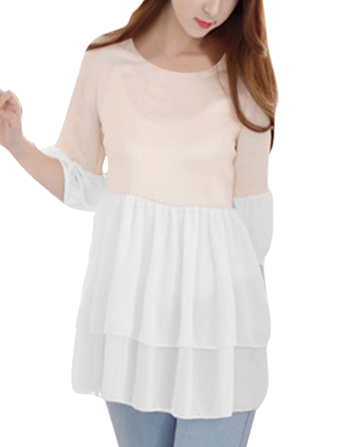Women Self Tie Bowknot Layered Chic Blouse White Light Pink S