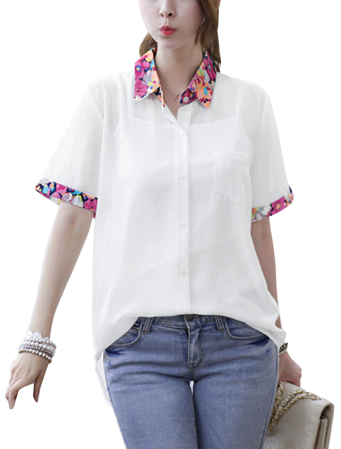 Lady Point Collar Single Breasted Semi Sheer High Low Hem Shirt White S