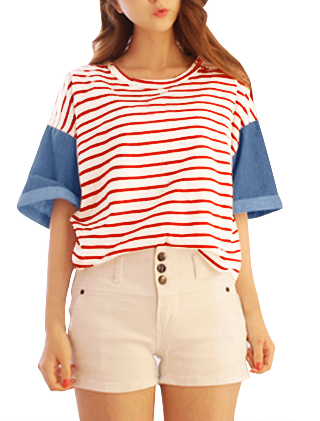 Lady Round Neck Half Batwing Sleeve Stripes Loose Tee Red XS