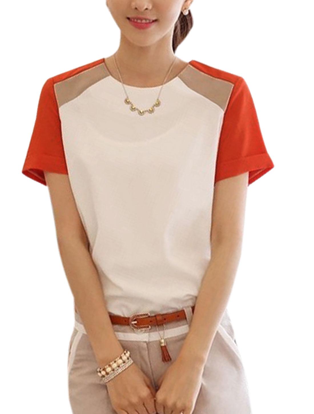 Lady Color Block Zipper Back Short Sleeve Chiffon Blouse Orange White M