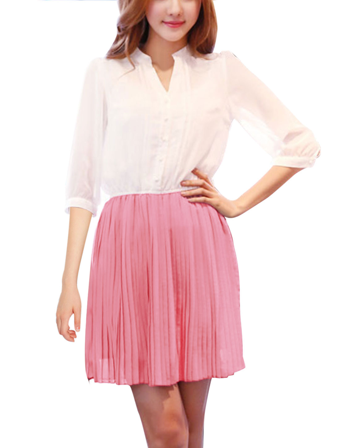 Lady Stand Collar 3/4 Sleeve 1/2 Placket Pleated Dress Pink S
