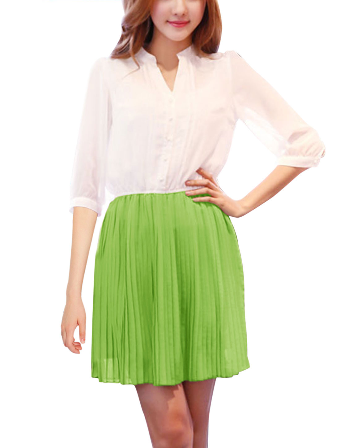Lady Stand Collar 1/2 Placket Pleated Dress White Apple Green S