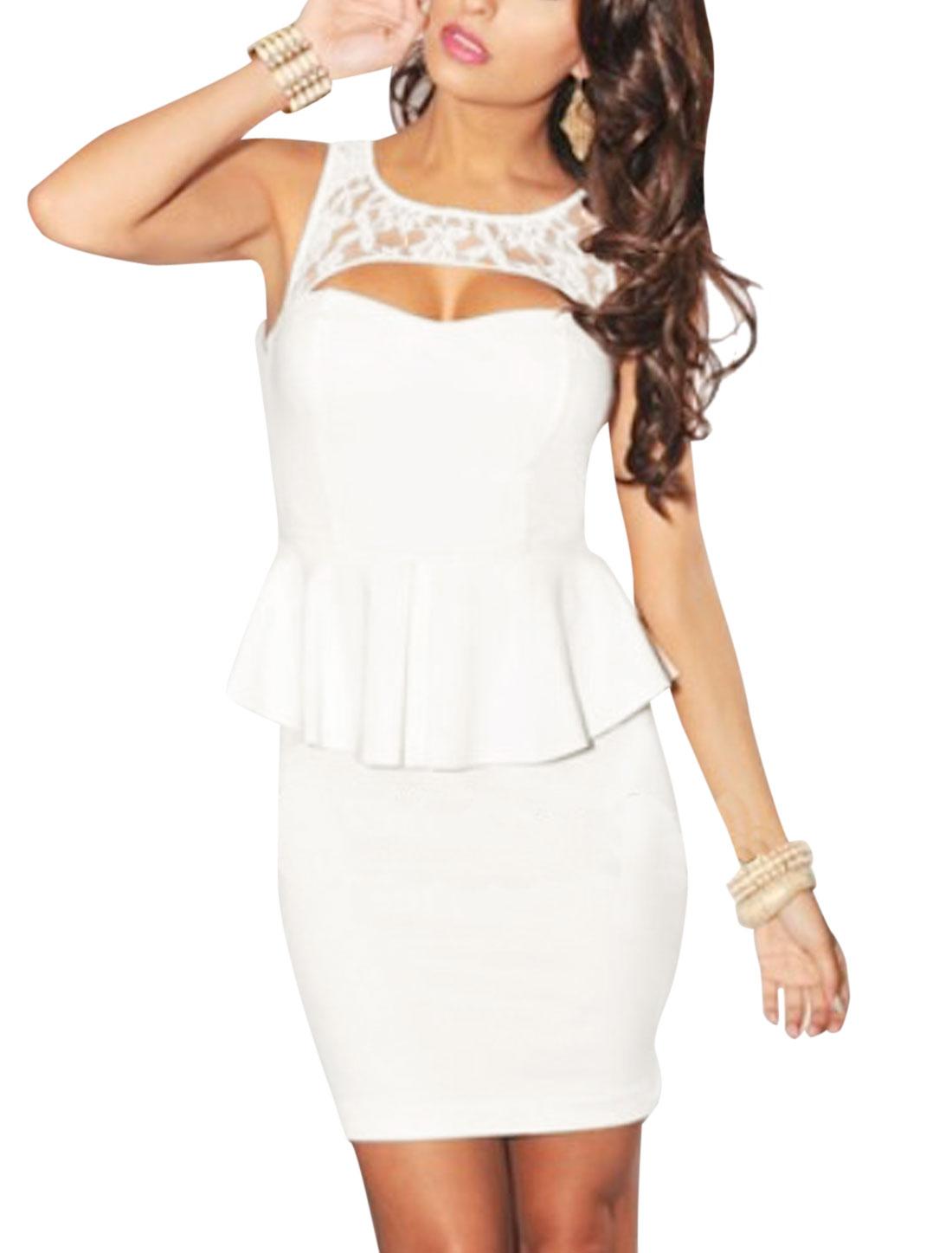 Lady Cut Out Design Padded Bust Sexy Sheath Dress White XS