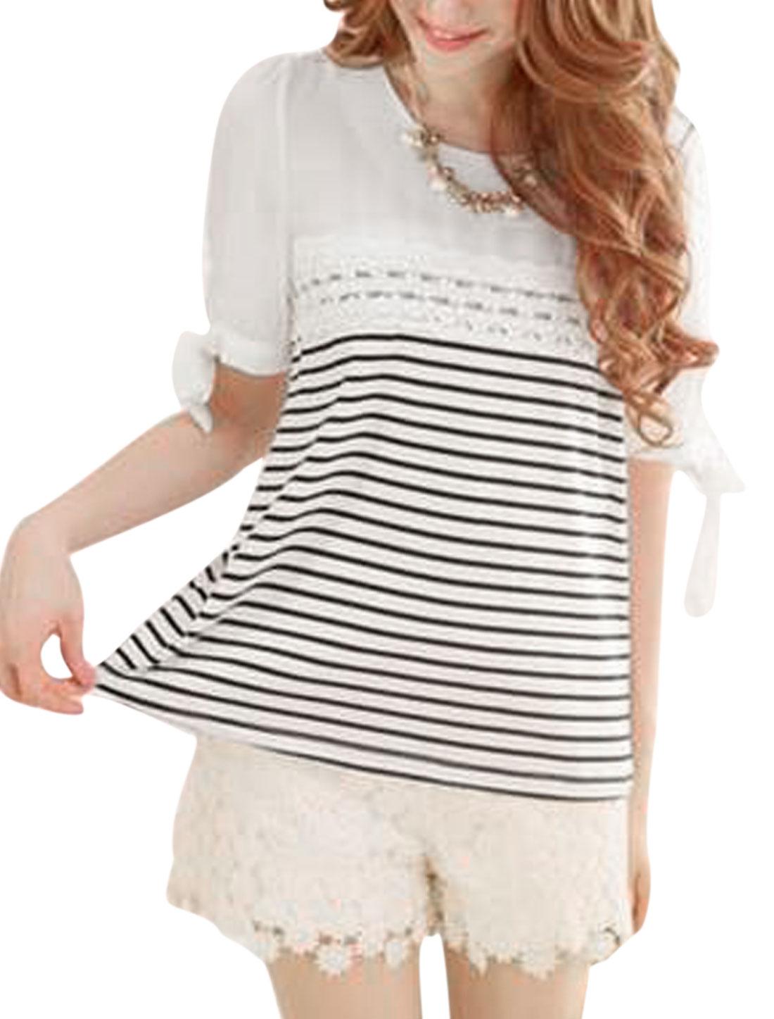 Women Self Tie Bowknot Chiffon Splicing Stripes Chic Blouse Black White S
