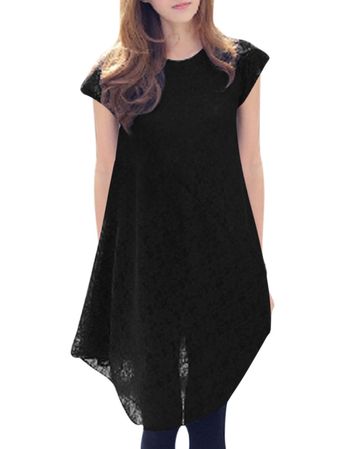 Women One Dolman Sleeve Asymmetric Hem Personalized Lace Dress Black S