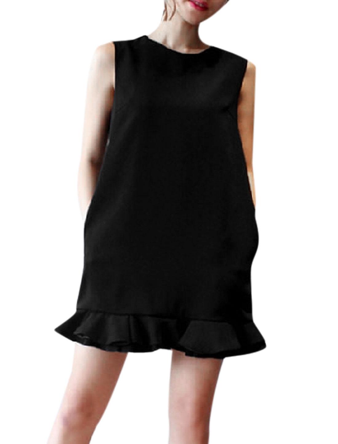 Lady Hidden Zipper Back Above Knee Ruffle Hem Straight Dress Black S