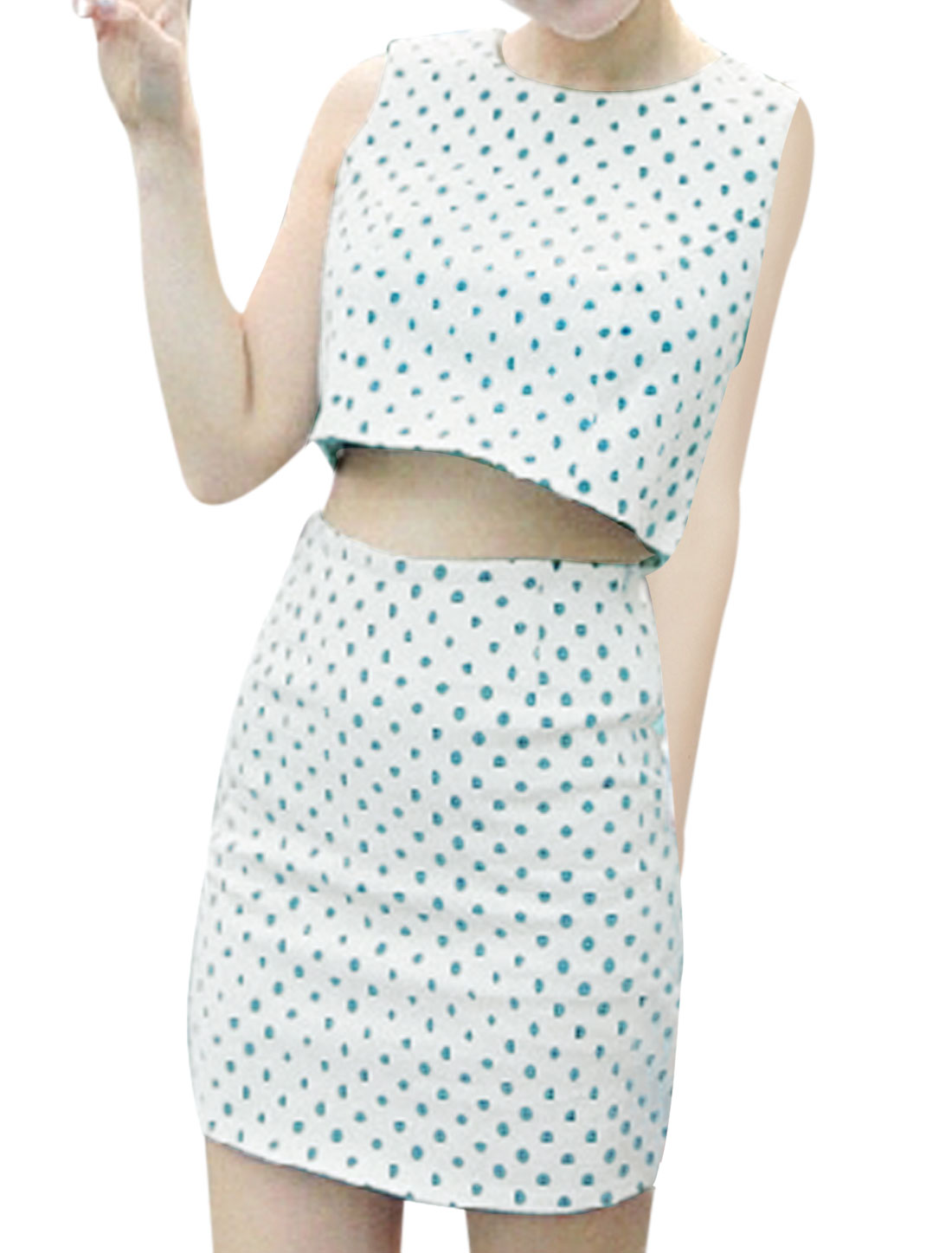 Ladies Retro Dots Pattern Cropped Tank Top w A Line Skirt White XS