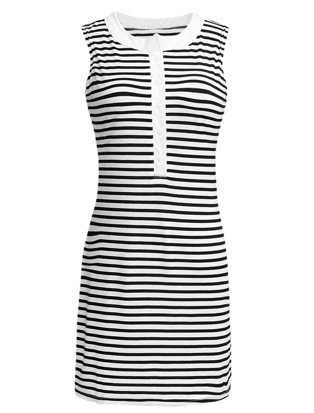 Women Stripes Buttons Closed Front Sheathy Tank Dress Black White XS