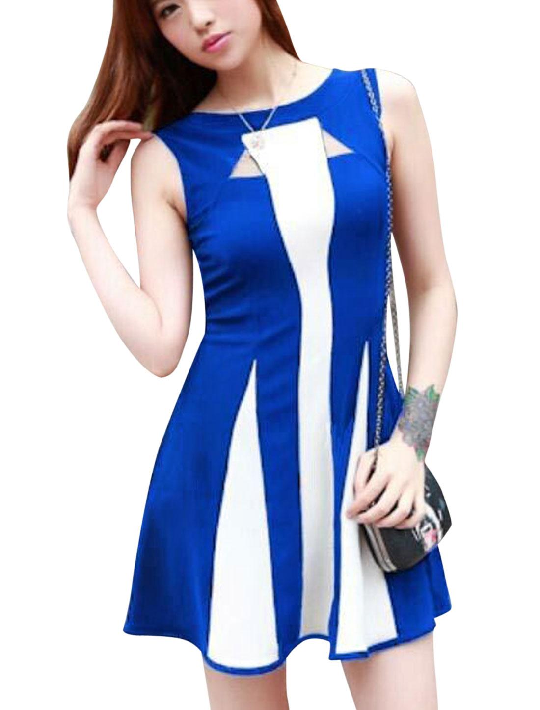 Lady Round Neck Sleeveless Mesh Panel Colorblock Dress Royal Blue XS
