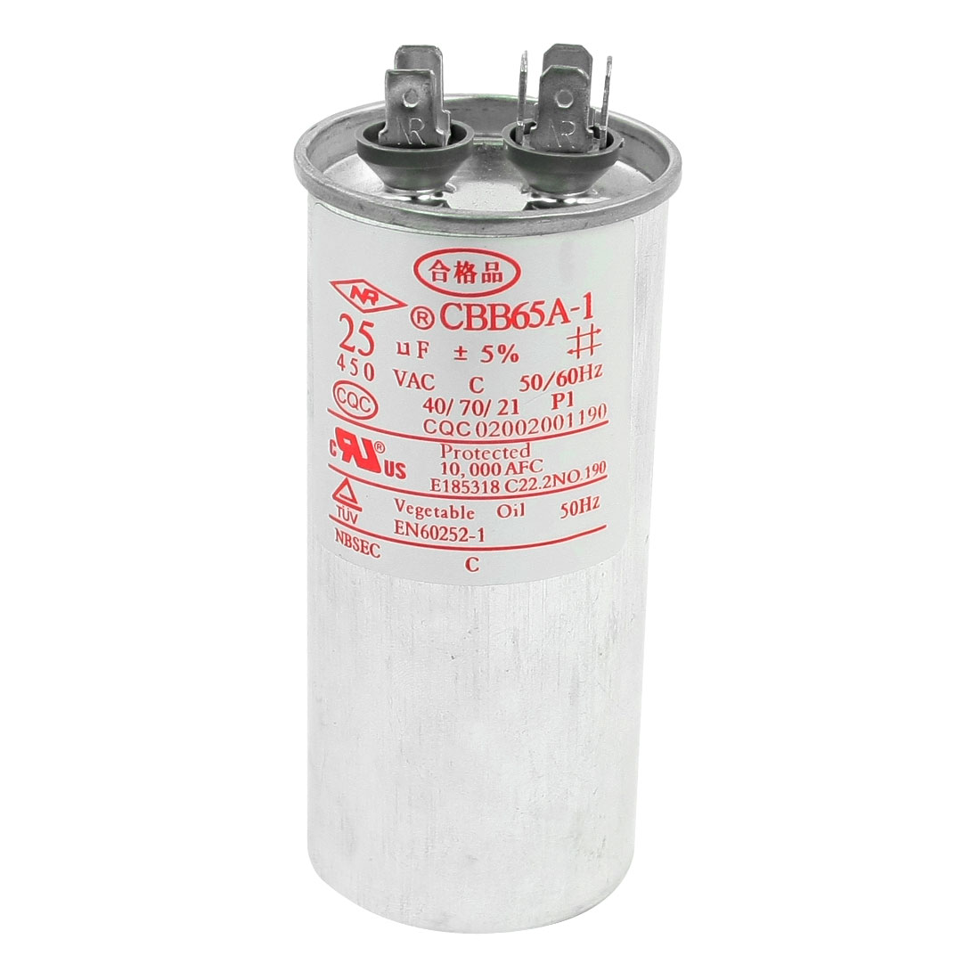 AC 450V CBB65A-1 25uF 5% 50/60Hz Cylinder Shape 6 Terminals Air Conditioner Electrolytic Motor Run Capacitor Silver Tone