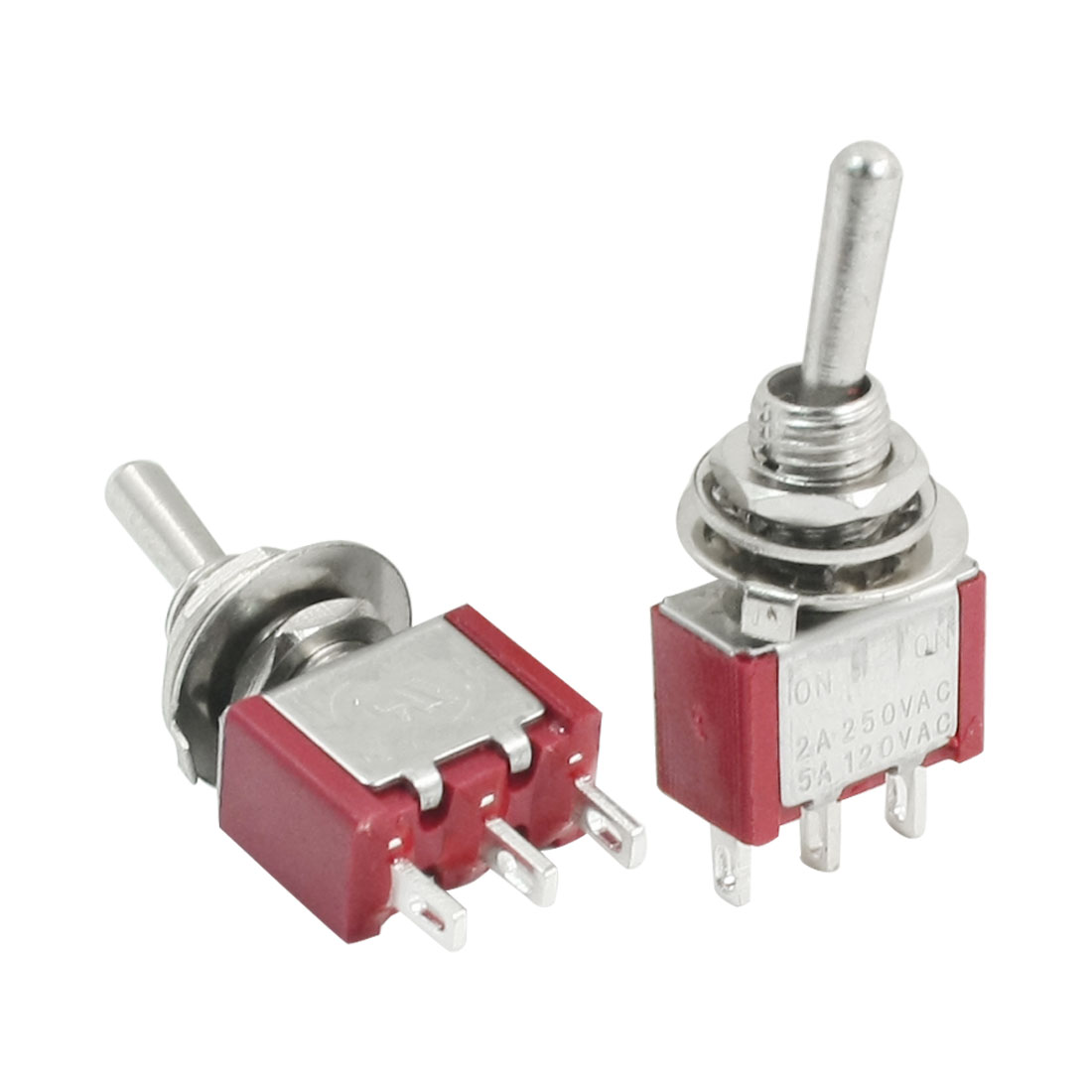 AC 250V 2A SPDT 3 Pin ON/ON Latching Control Toggle Switches 2pcs