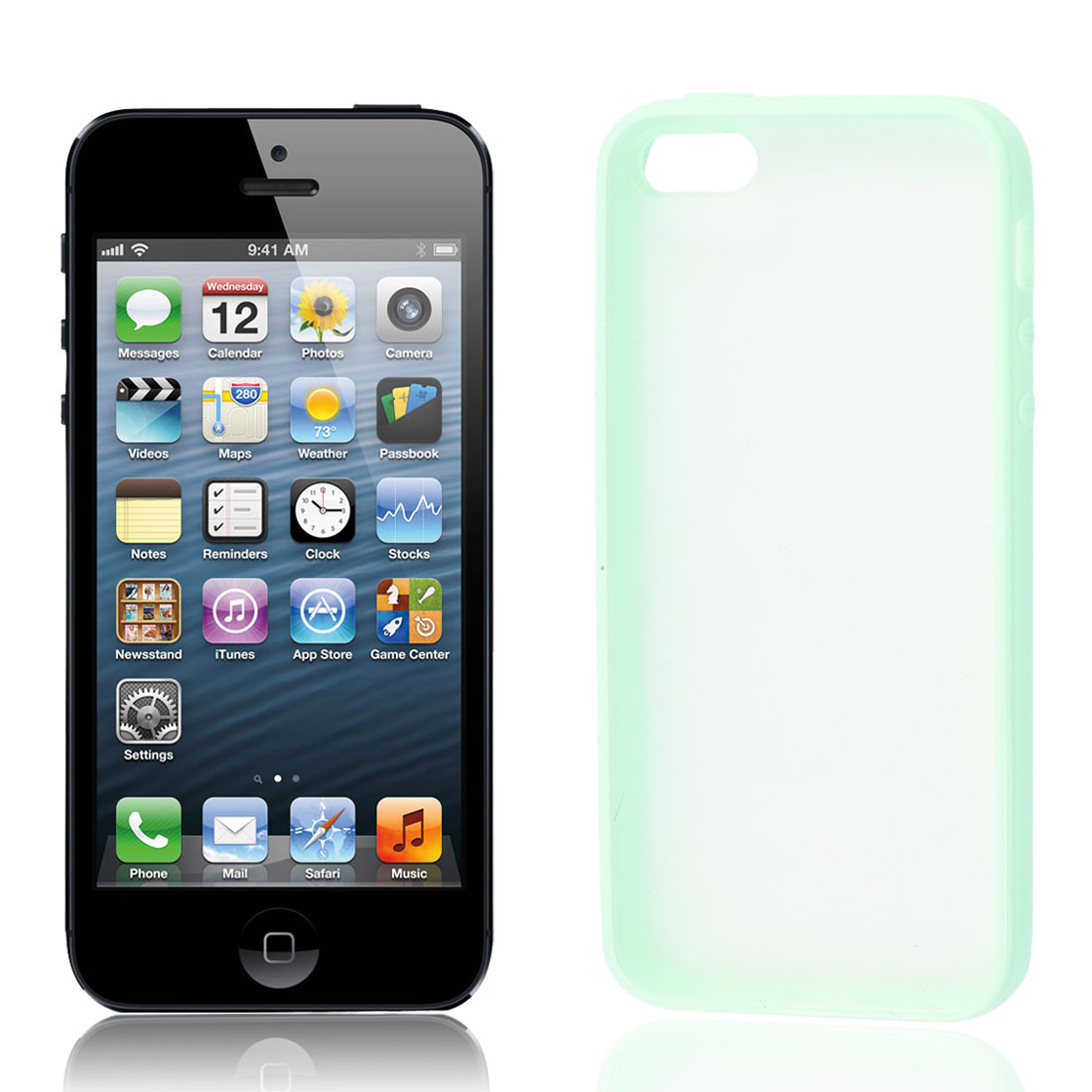 Pale Green Clear TPU Frosted Back Case Cover Shell Protector for Apple iPhone 5 5G 5S