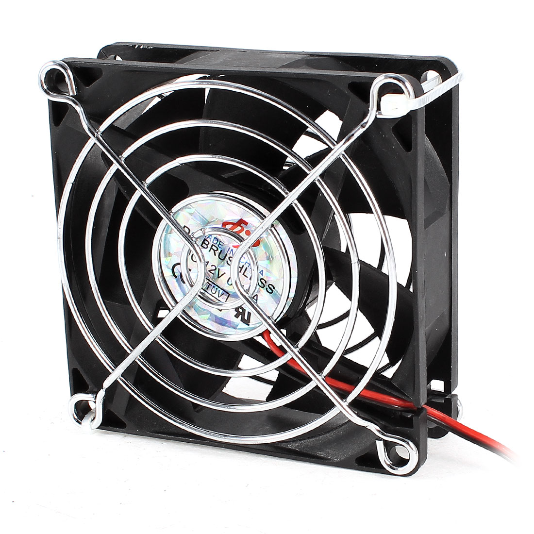 DC 12V 0.18A Metal Grill 80mmx25mm Cooling Fan Cooler Black for Computer Case
