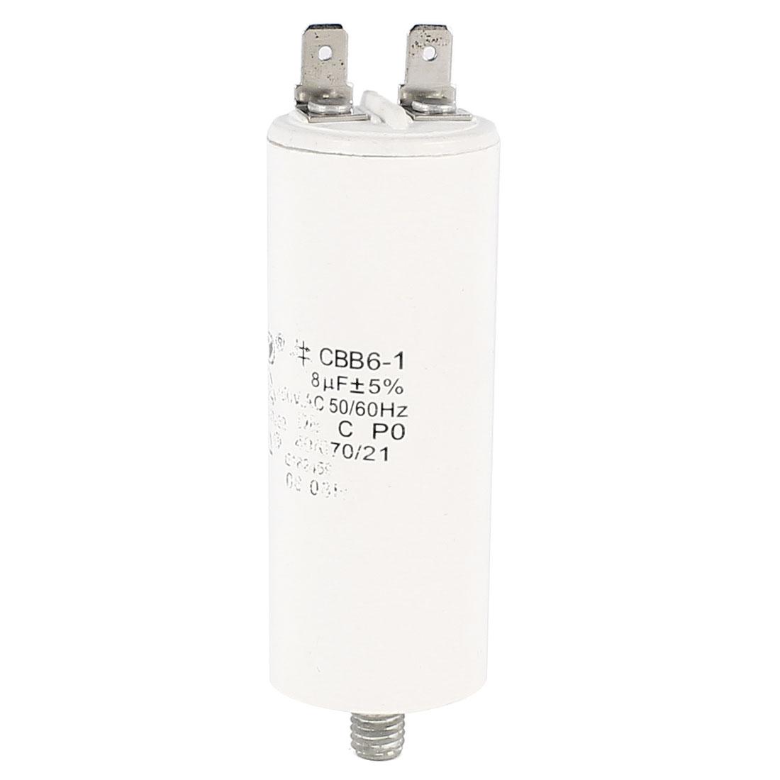 CBB6-1 8uF AC 450V 5% 50/60Hz Screw Terminal Type Polypropylene Film Motor Running Capacitor