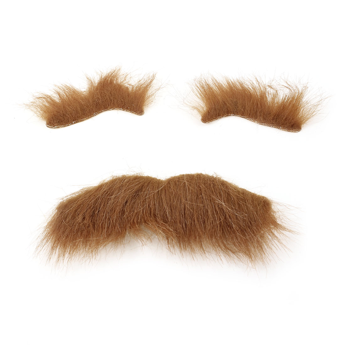 Fancy Dress Ball Halloween Cosplay Adhesived Faux Fur Funny Fake Mustache Eyebrow Set Brown