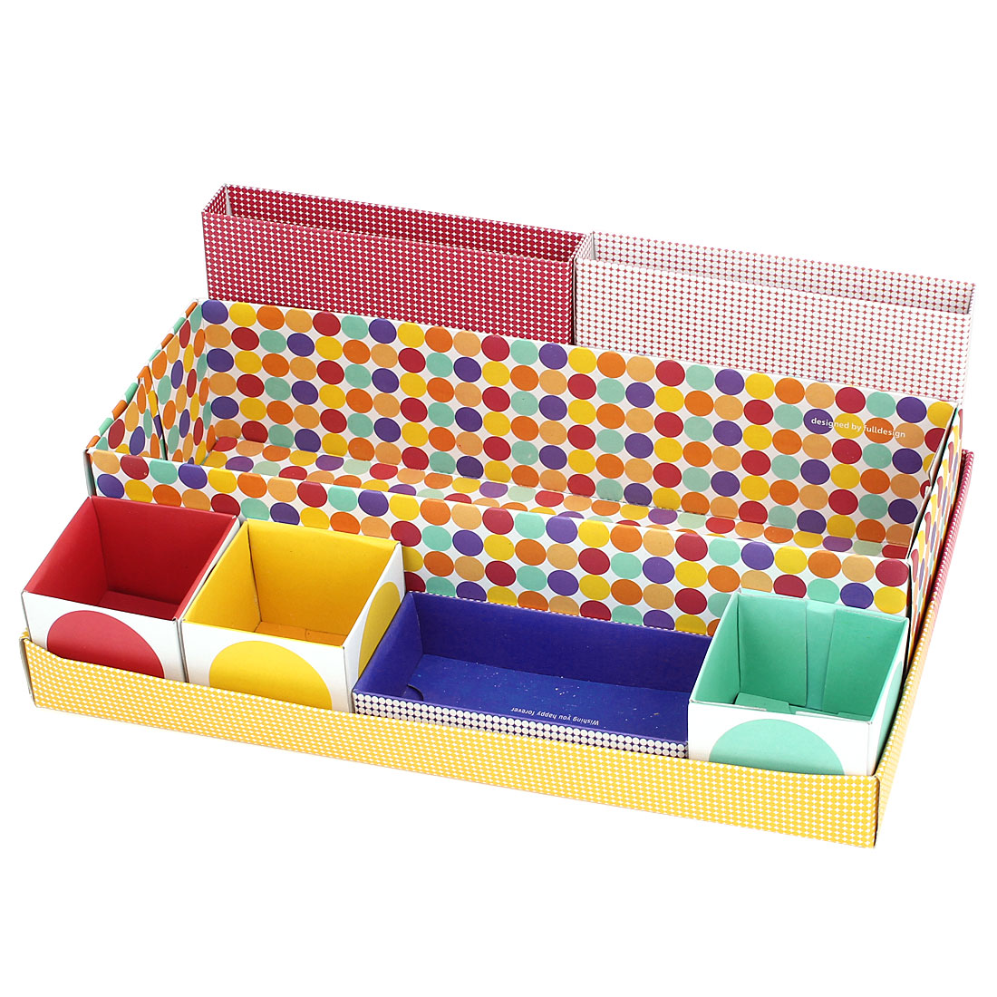 Dots Pattern 7 in 1 Compartments Cosmetics Makeup Tools Storage Box Divider Organizer Colorful