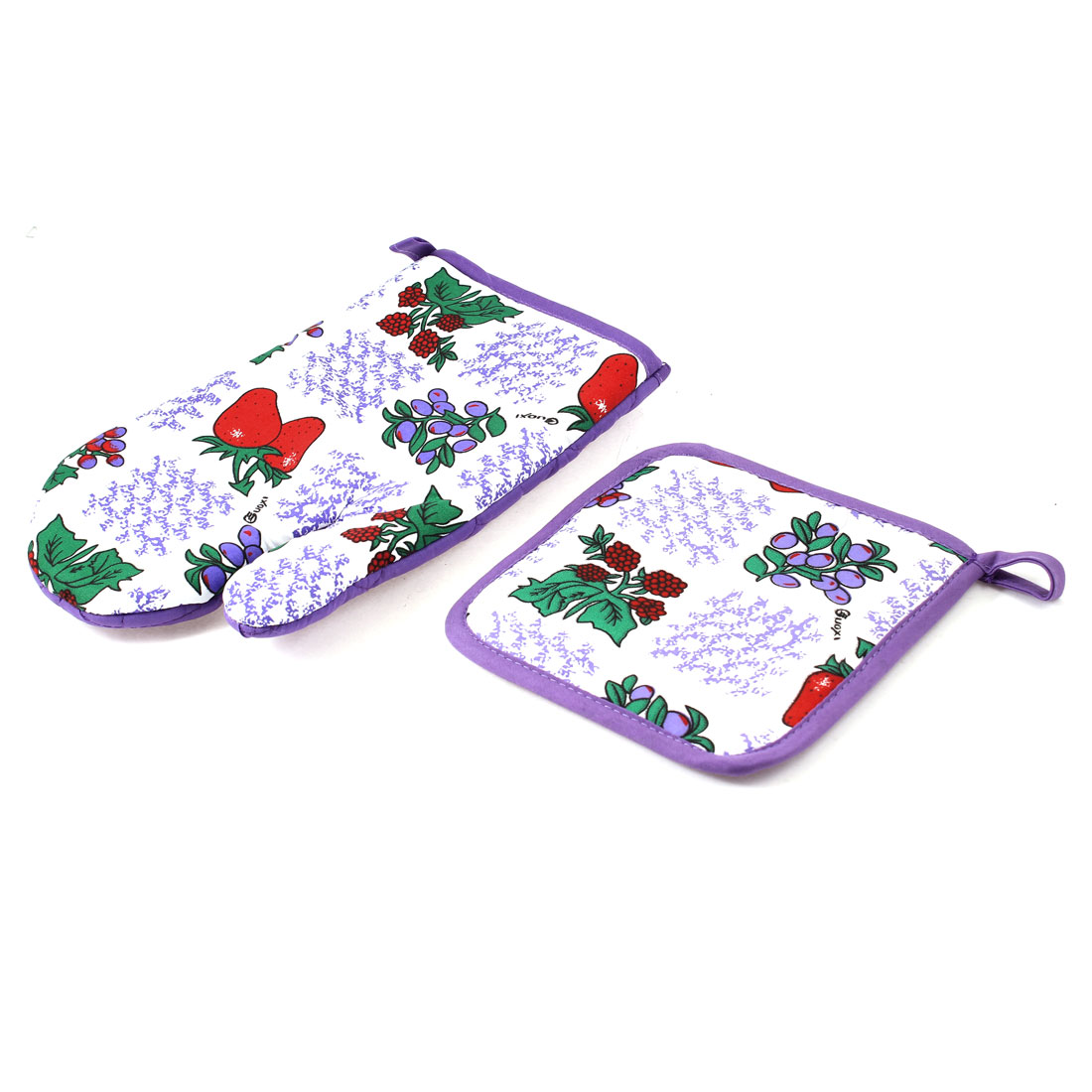 Kitchen Microwave Oven Baking Heat Hot Resistant Plant Pattern Mitten Glove Pad 2 in 1 Purple White