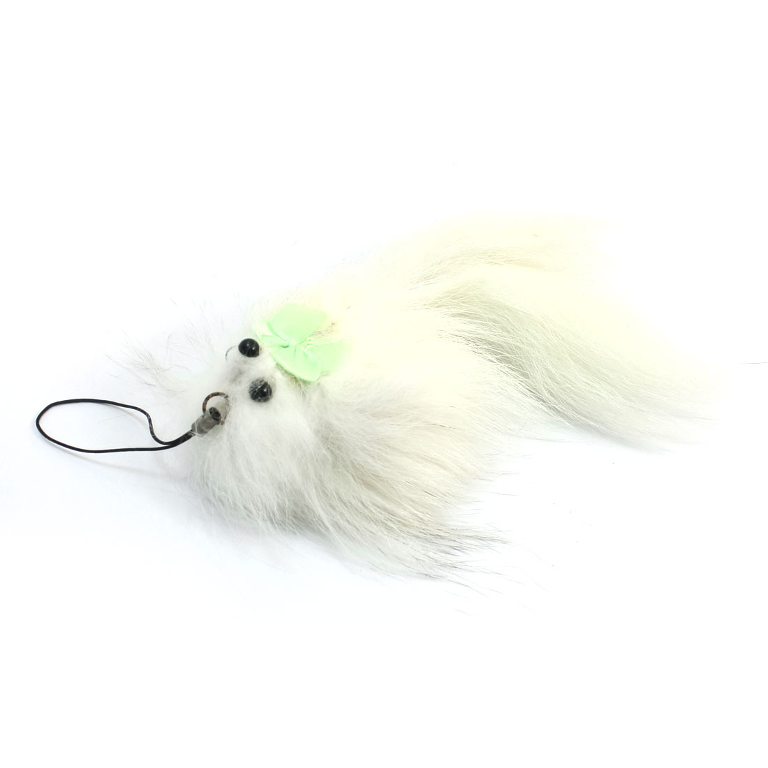 String Mini Light Green Bowtie Decor White Soft Faux Fur Fox Strap Charm for Handbag Purse