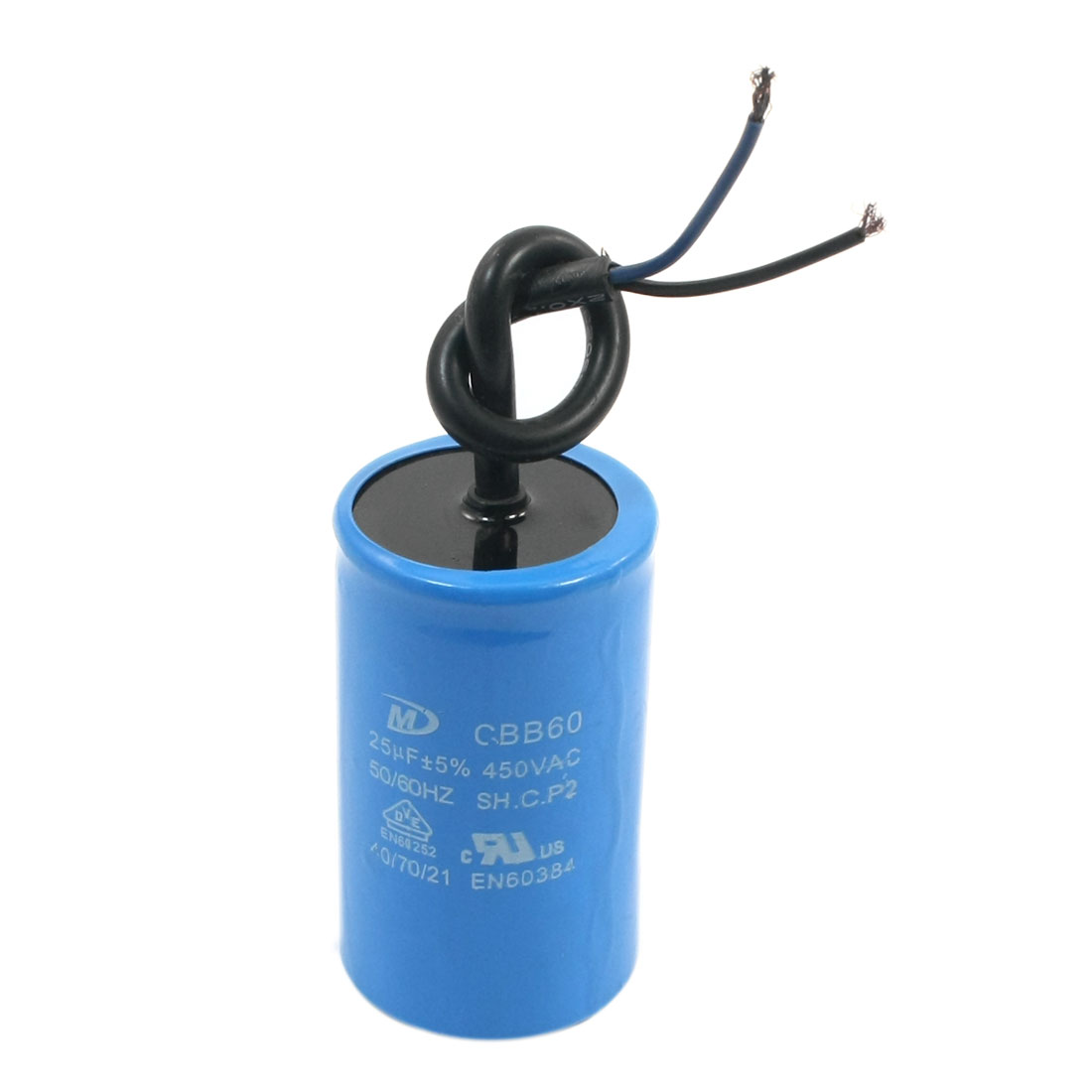 AC 450V CBB60 25UF 5% 50/60Hz Cylinder Shape Wired Polypropylene Film Washing Machine Washer Electrolytic Motor Capacitor Blue