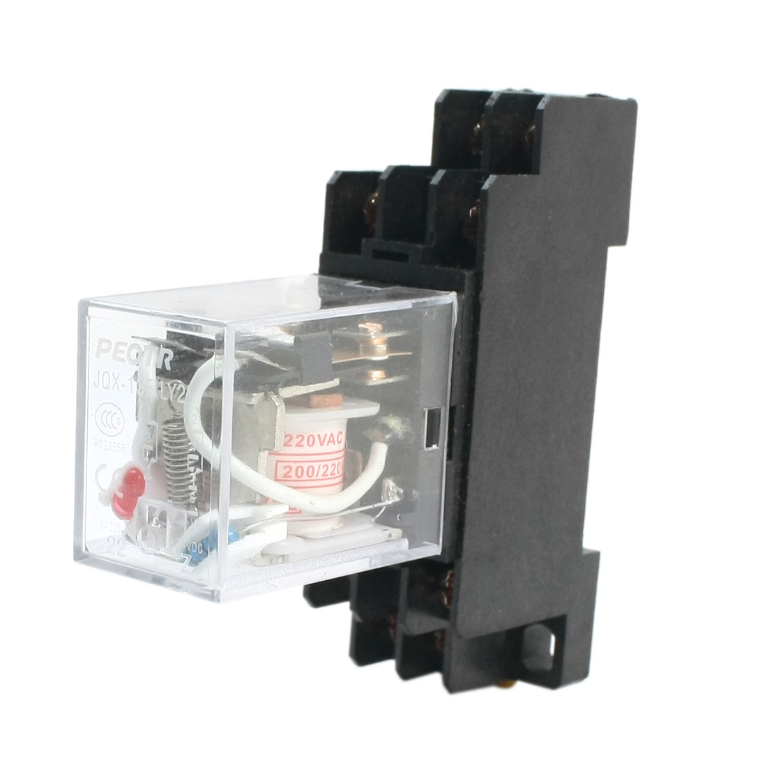 JQX-13F LY2 AC 200/220V Coil Voltage DPDT 8 Pins 5A Red LED Light Power Relay + PTF08A 35mm Mounting Rail Relay Socket Base