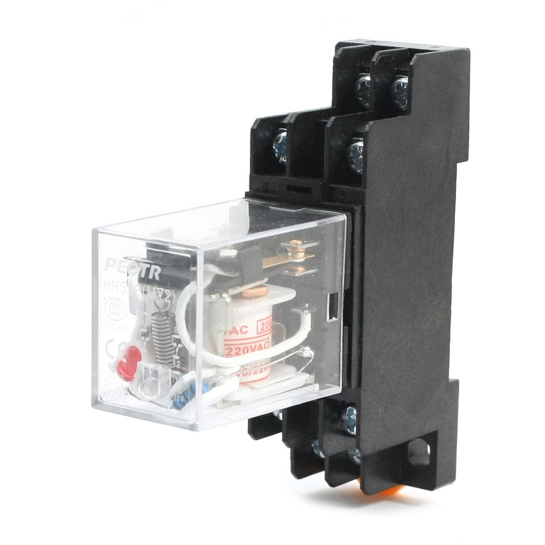HH52P MY2 AC 200/220V Coil Voltage DPDT 8 Pins 5A Red LED Light Power Relay + PYF08A 35mm Mounting Rail Relay Socket Base