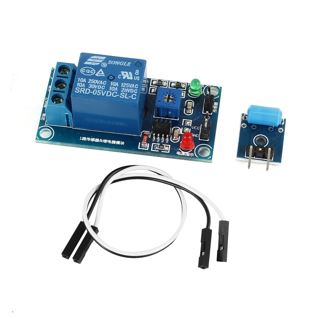 DC5V 1 Channel Red and Green LED Light Shaking Shock Vibration Detection Sensor + Relay Module