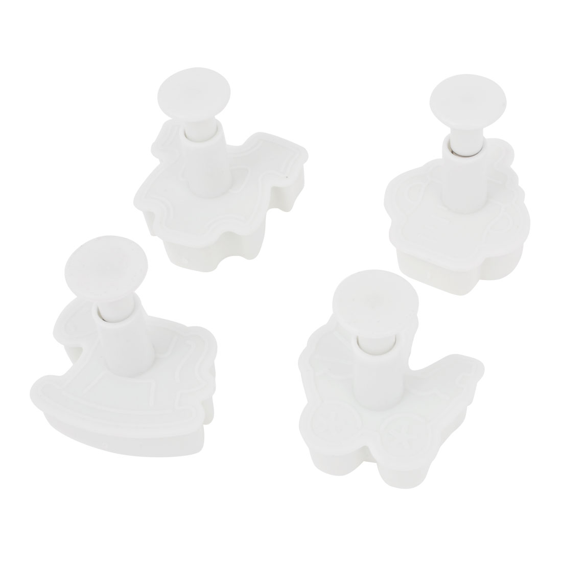 Household White Plastic Horse Carriage Blouse Cookie Cutter Mould 4 Pcs