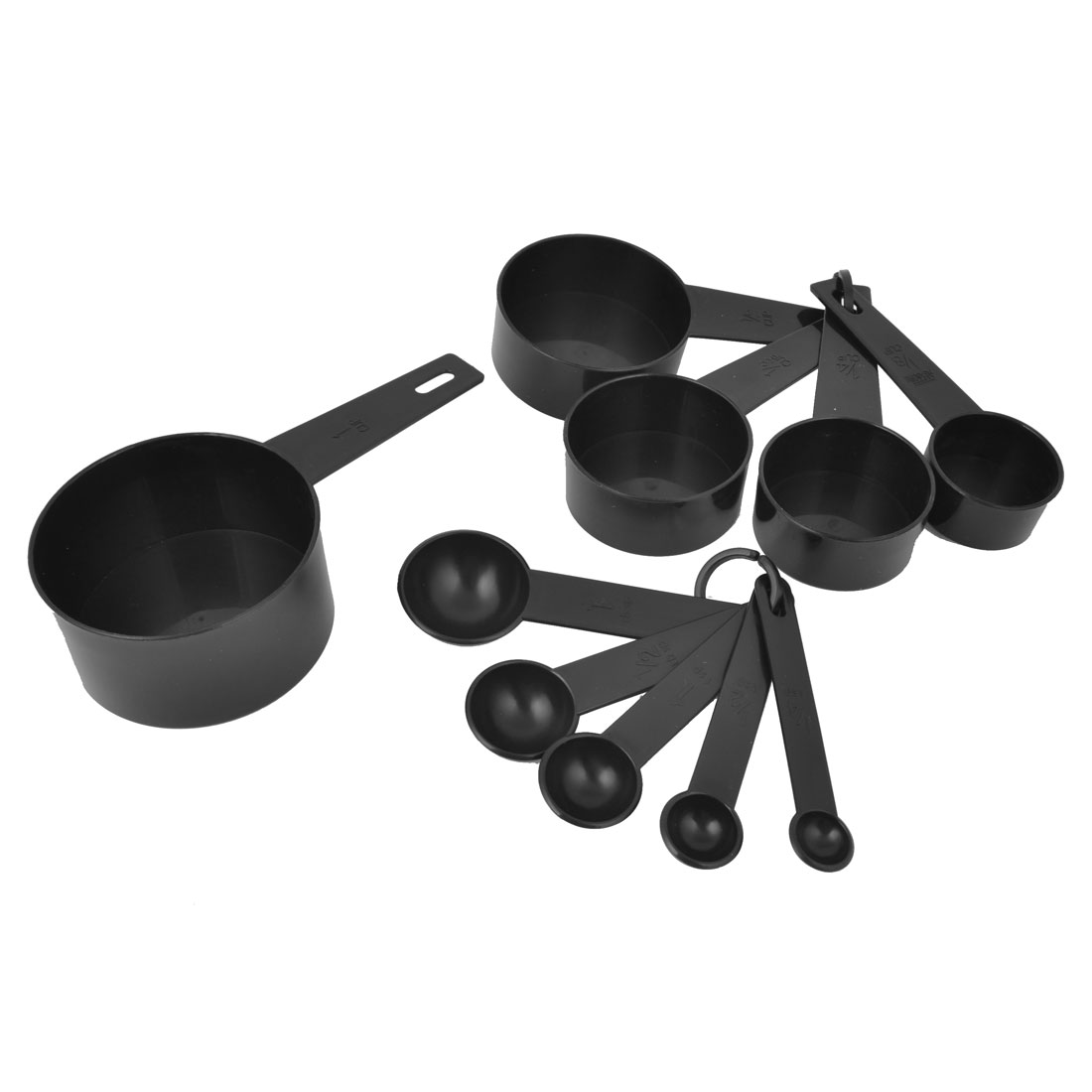 Kitchen 10 Pcs Black Round Shape Oval Handle 1/4tsp-1cup Measure Spoons