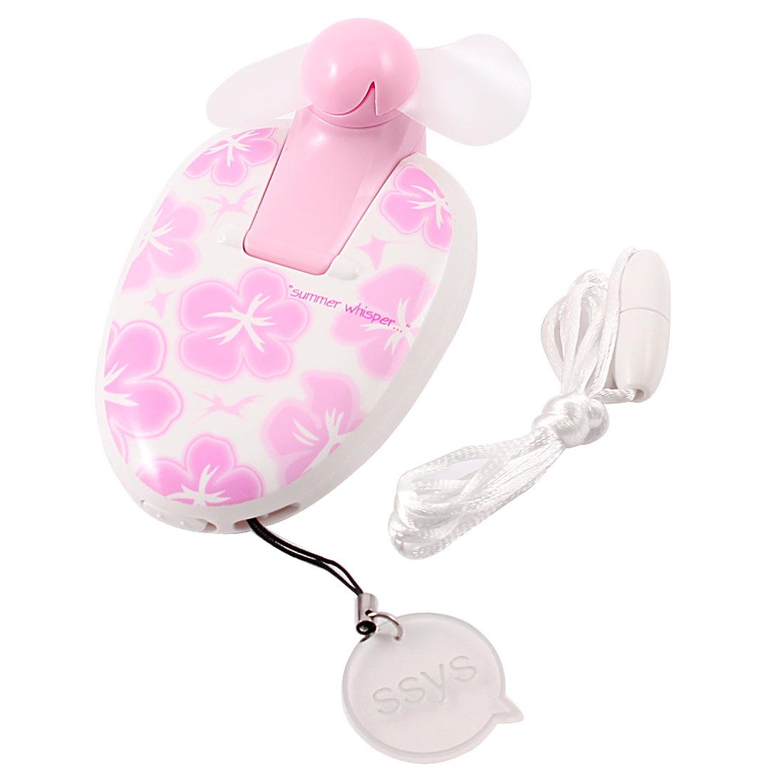 Office Ellipse Shaped Flower Ornament Mini Electric Cooling Fan Pink