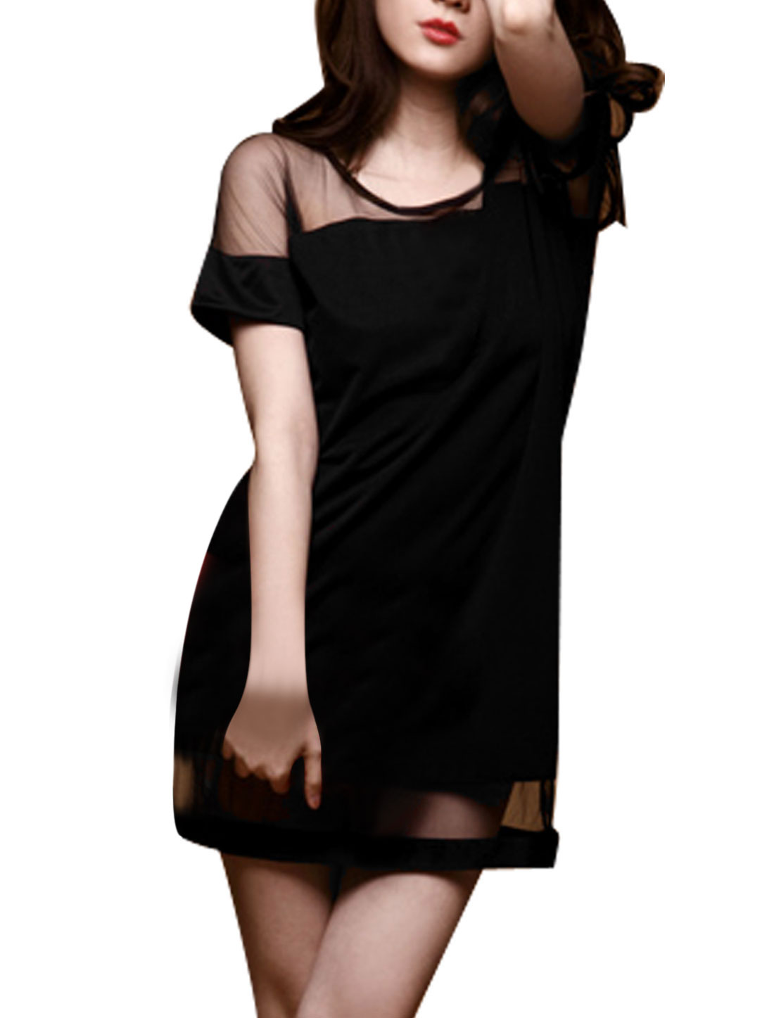 Meshy Splice Round Neck Short Sleeve Mini Dress Black XS for Women