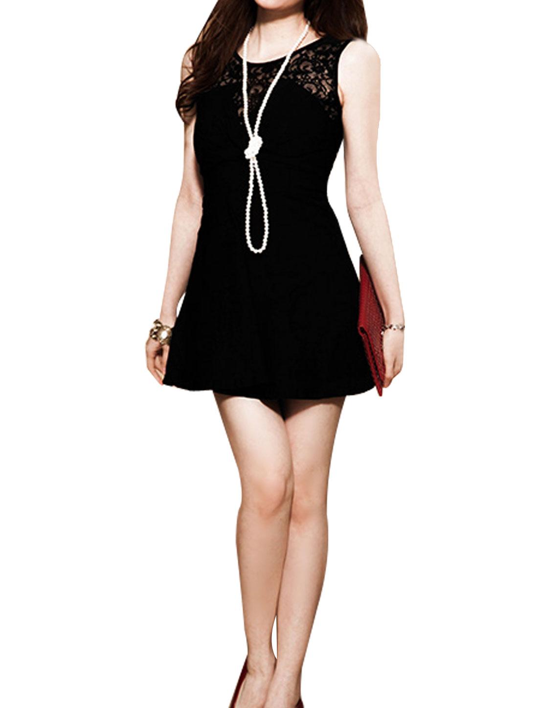 Round Neck Hidden Back Zip Lace Splice Mini A-Line Dress Black XS for Women