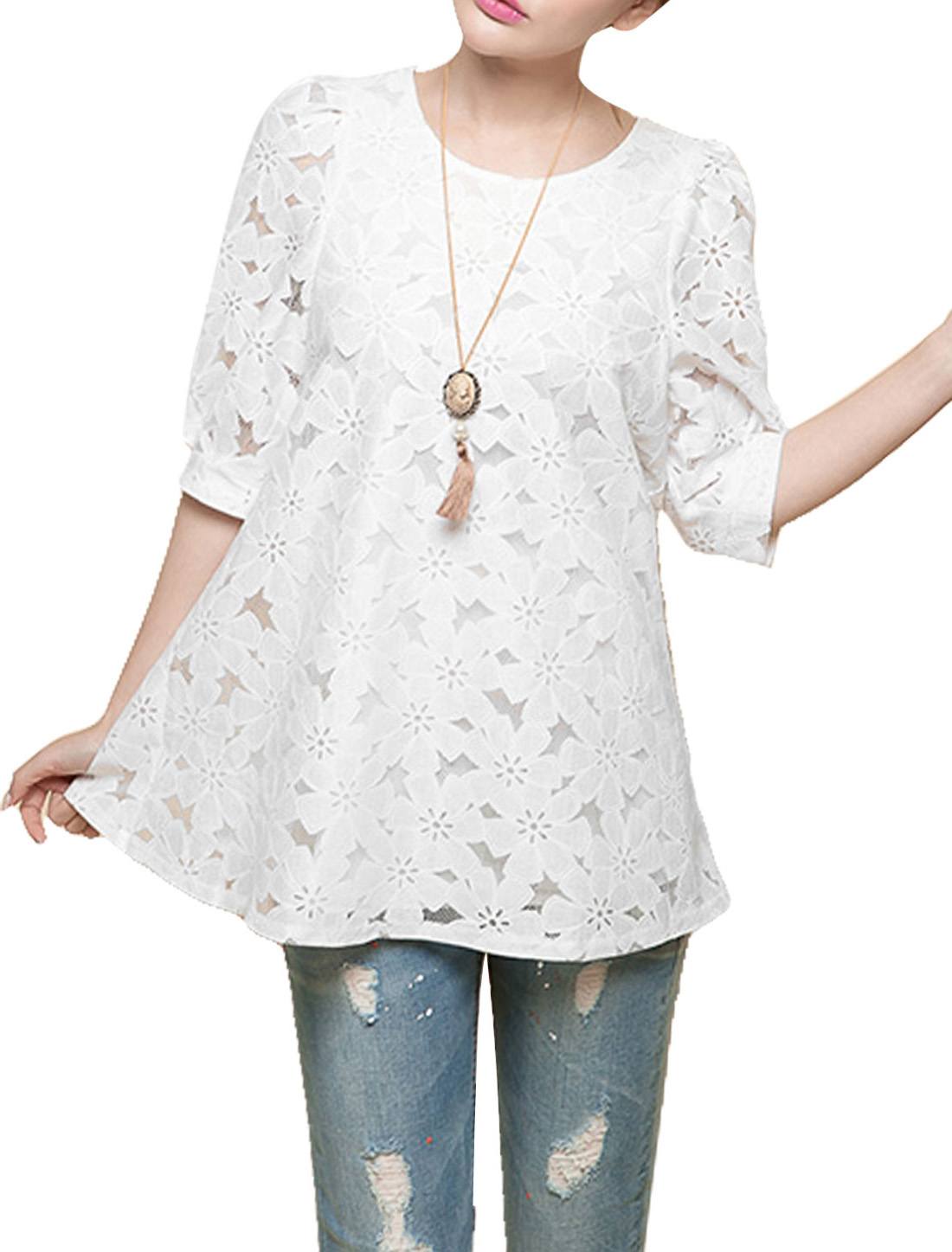 Round Neck Crochet Flowers Style Loose Blouse White XS for Women