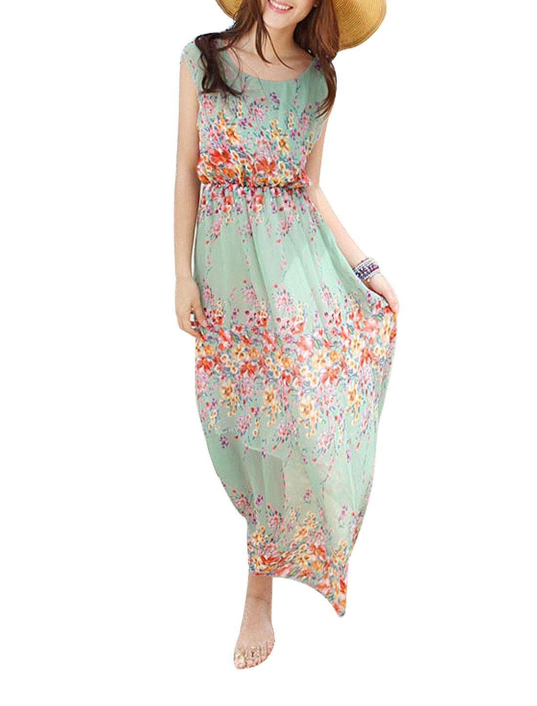 Sleeveless Flowers Pattern Elastic Waist Long Dress Green XS for Women