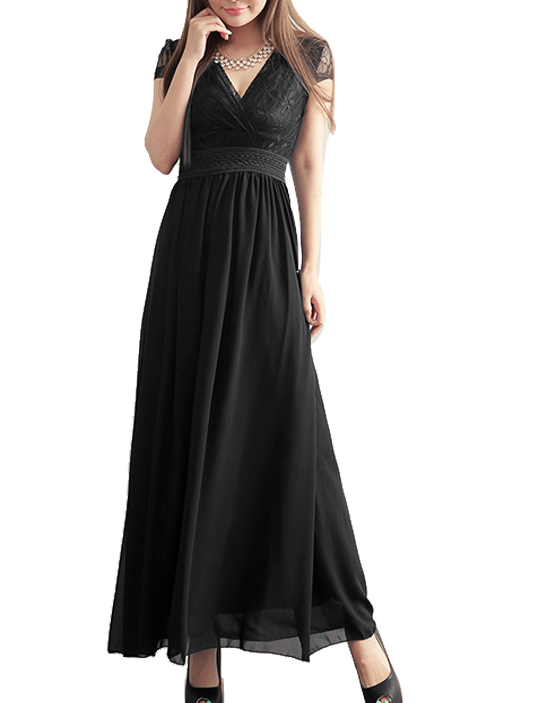 Deep V Neck Cap Sleeve Inner Lining Full Length Dress Black XS for Women