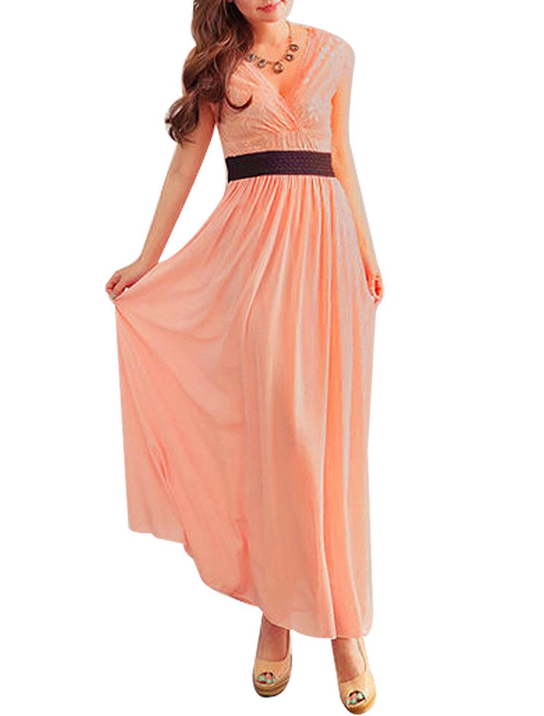 Women Fashion Lace Chiffon Splice Elastic Sheath Waist Maxi Dress Pink XS