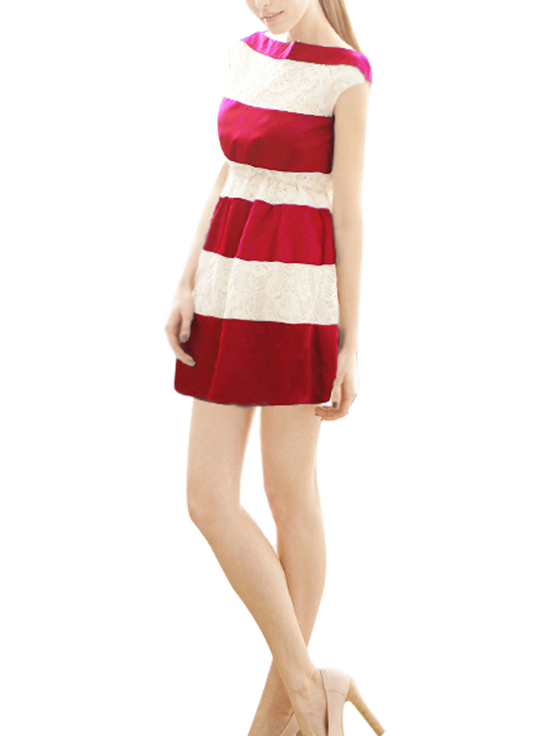 Women Boat Sleeve Sleeveless Color Block Fashion Mini Tank Dress Red White XS
