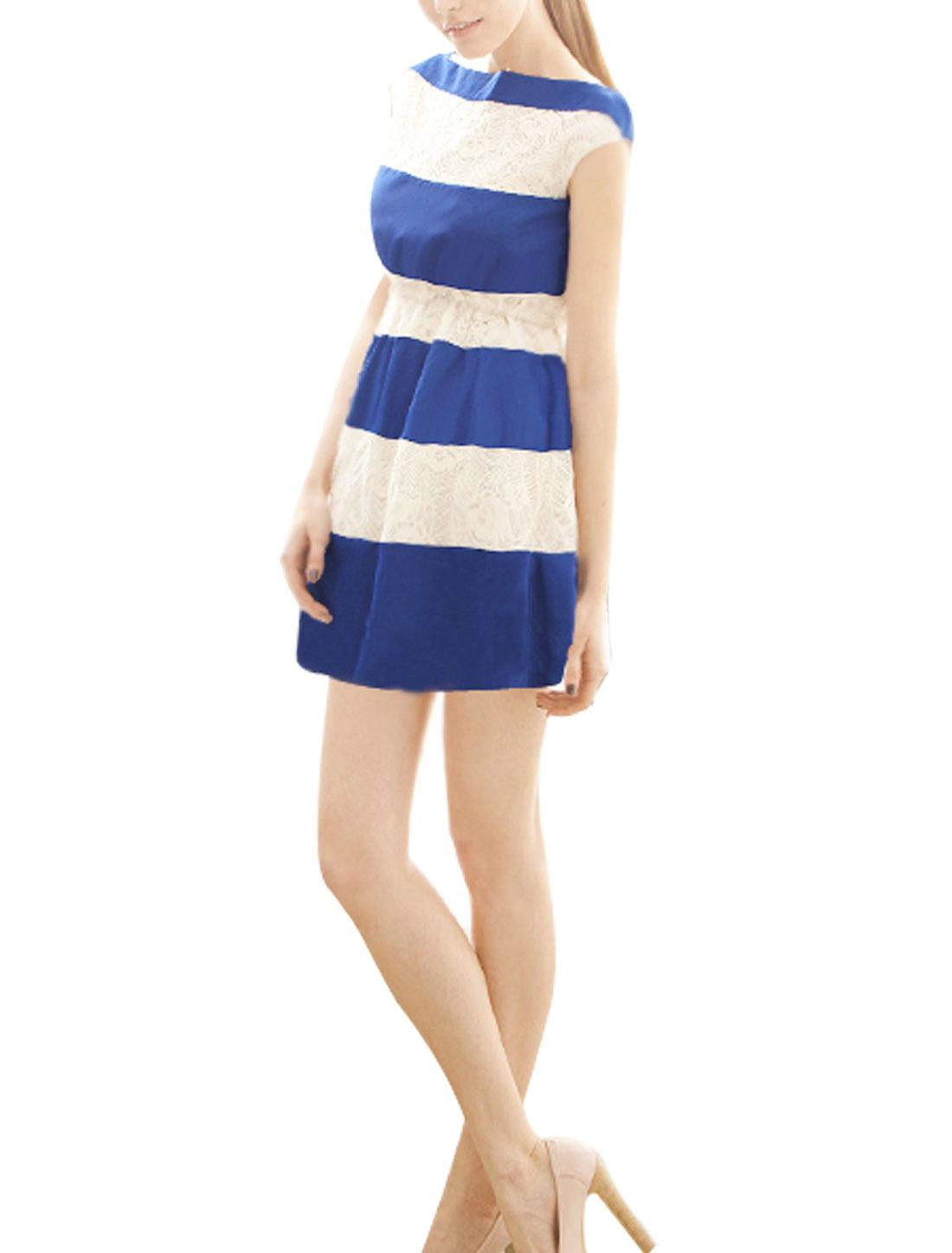 Ladies Stylish Pullover Color Block Lace Splice Mini Tank Dress Blue White XS