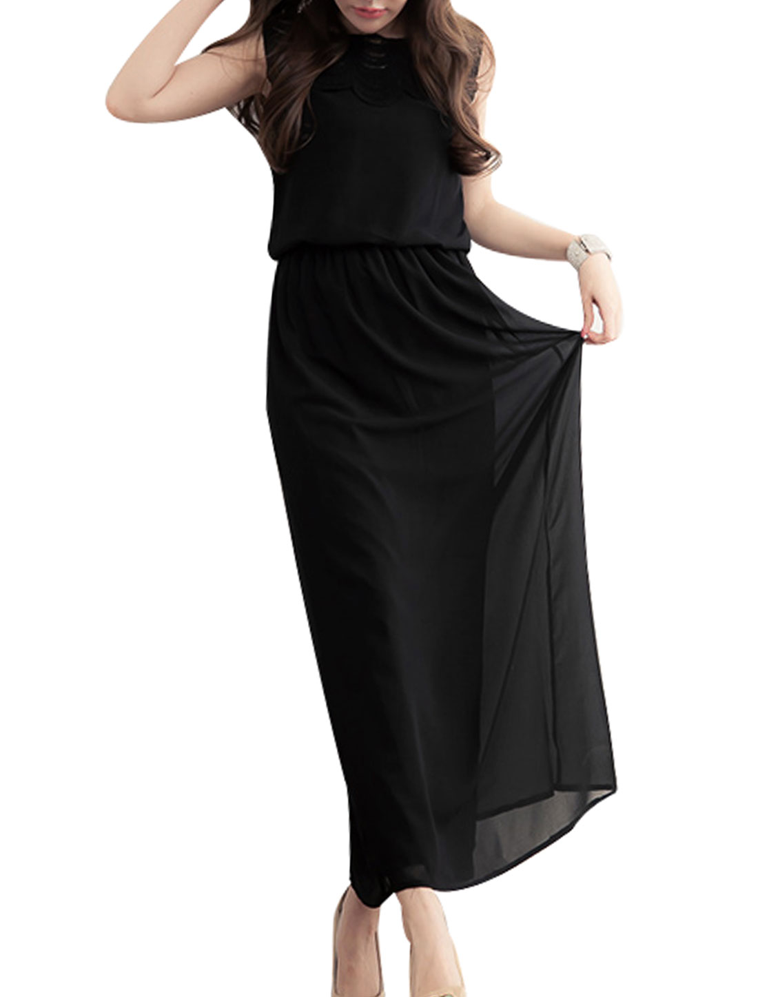 Woman Pullover Empire Waist Stylish Summer Long Chiffon Dress Black XS