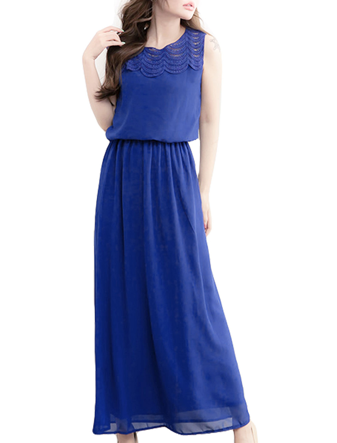 Dark Blue Crochet Collar Elastic Waist Full Length Chiffon Dress XS for Women