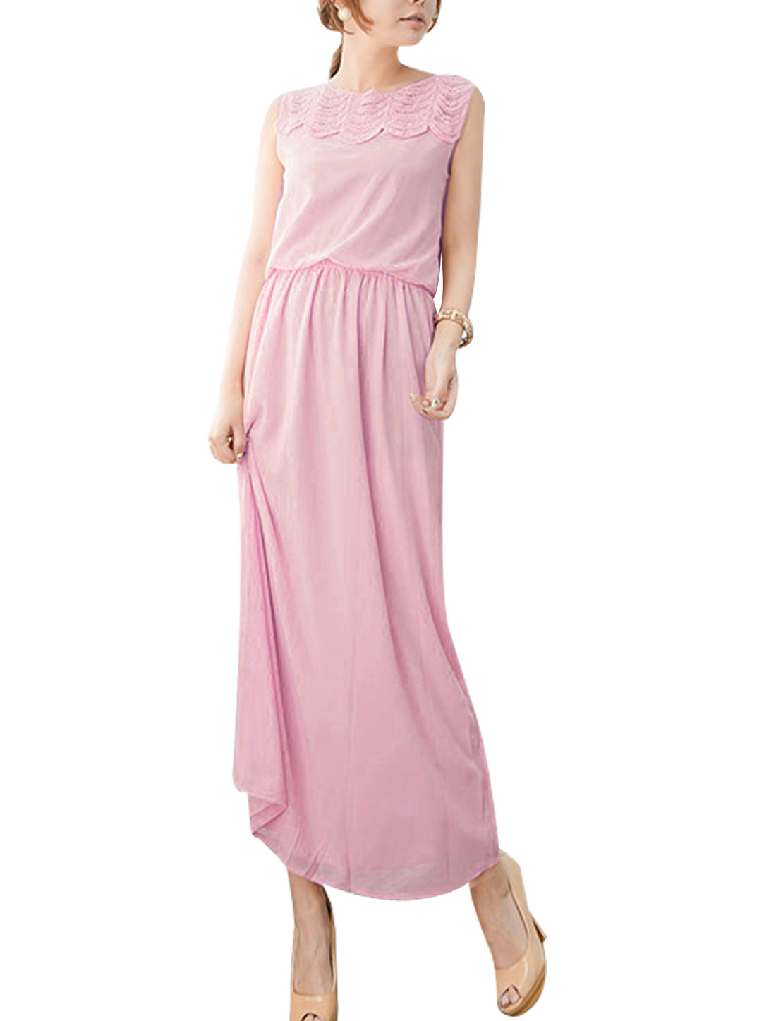 Round Neck Sleeveless Inner Lining Maxi Chiffon Dress Pink XS for Ladies