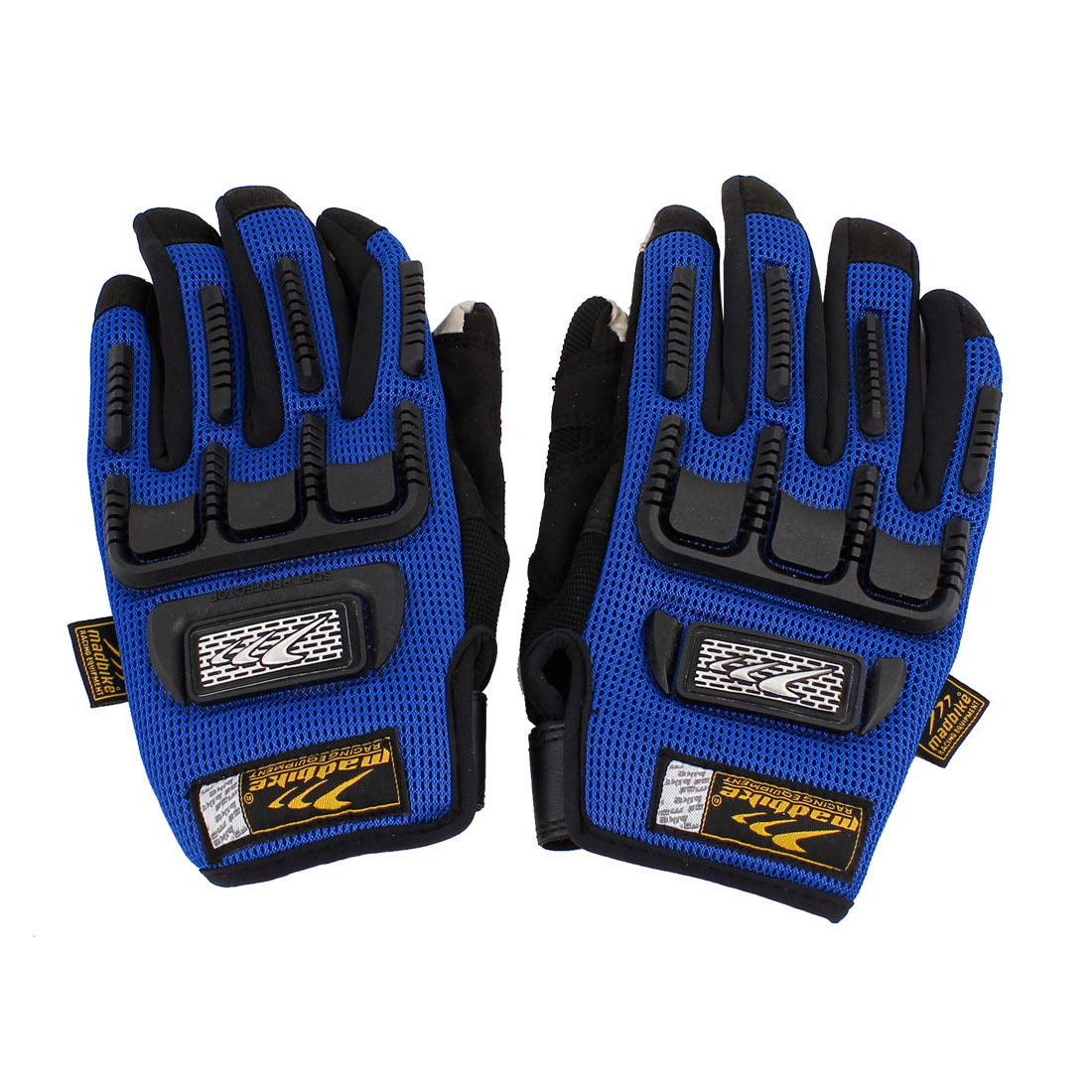 2 Pcs Unisex Bike Sport Cycling Motorcycle Full Finger Gloves Black Blue L