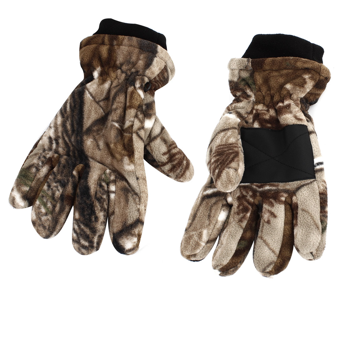 Pair Camouflage Pattern Riding Motorcycle Winter Gloves Brown Beige L for Unisex