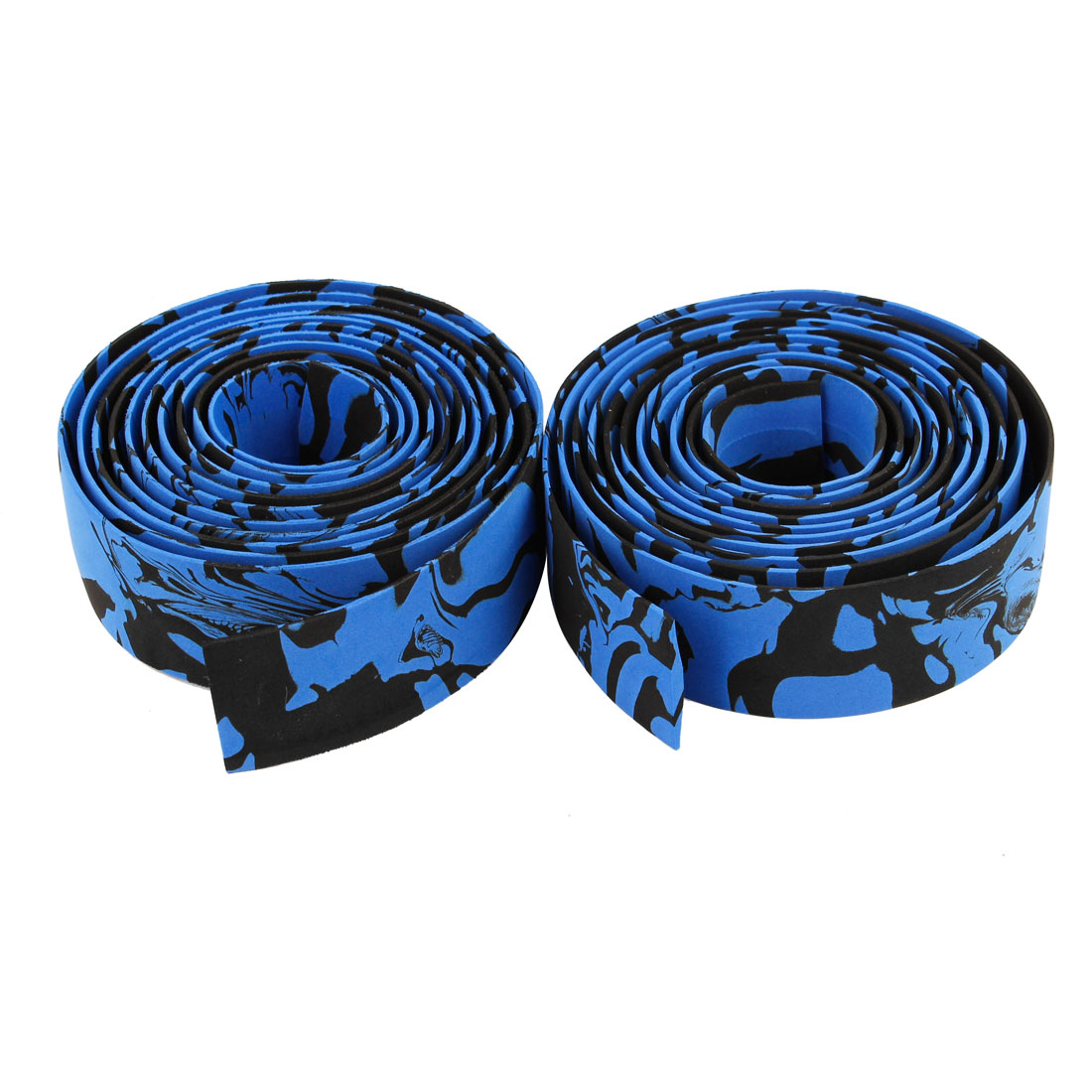 Pair Blue Black Sponge 6.8ft Long 3cm Wide Bike Handlebar Tape Wrapper w Bar End Plug
