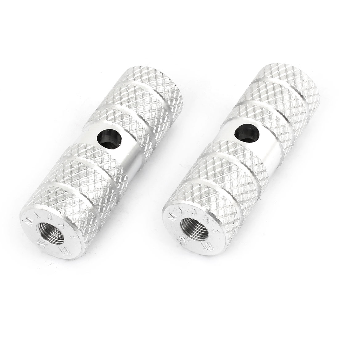 2 Pcs 22mm Dia Silver Tone Antislip Groove Design Bicycle Bike Axle Foot Pegs