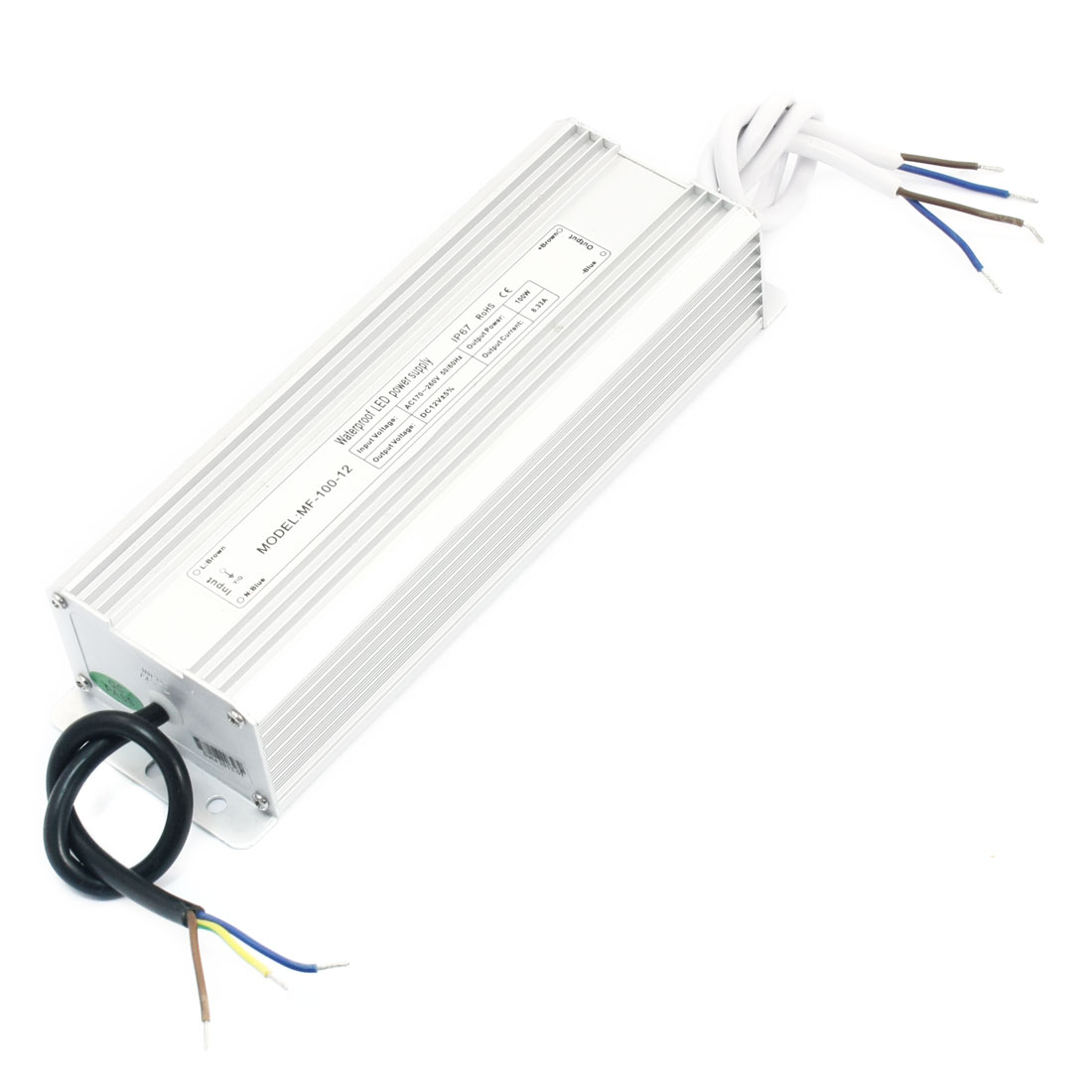 AC 170-260V Waterproof Power Supply Driver for DC 12V 100W LED Light