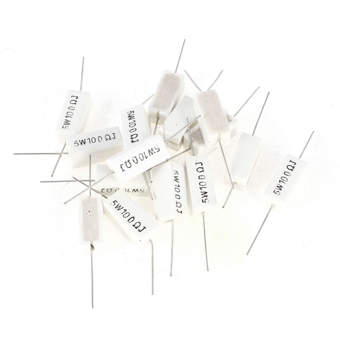 15 Pieces Silver Tone Axial Lead White Rectangle Cement Resistor 100 Ohm 5 Watt