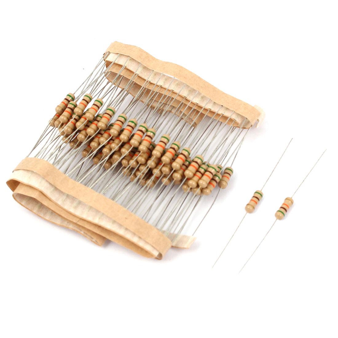 1/2W 51K Ohm 5% Tolerance Axial Lead Type Carbon Film Resistors 80 Pcs