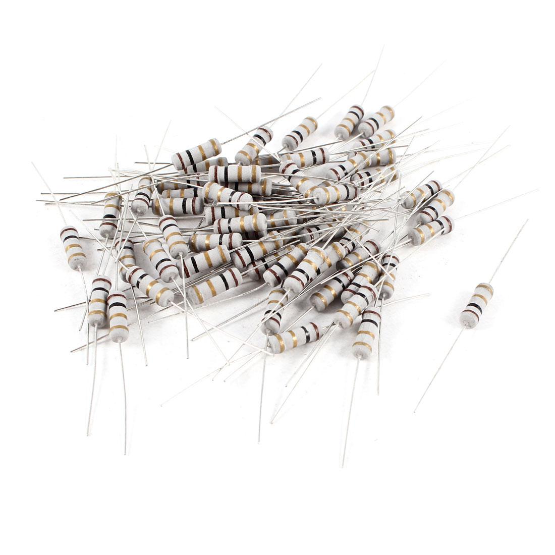 60 Pcs 1W Watt 1 Ohm 5% Tolerance Axial Carbon Film Resistors