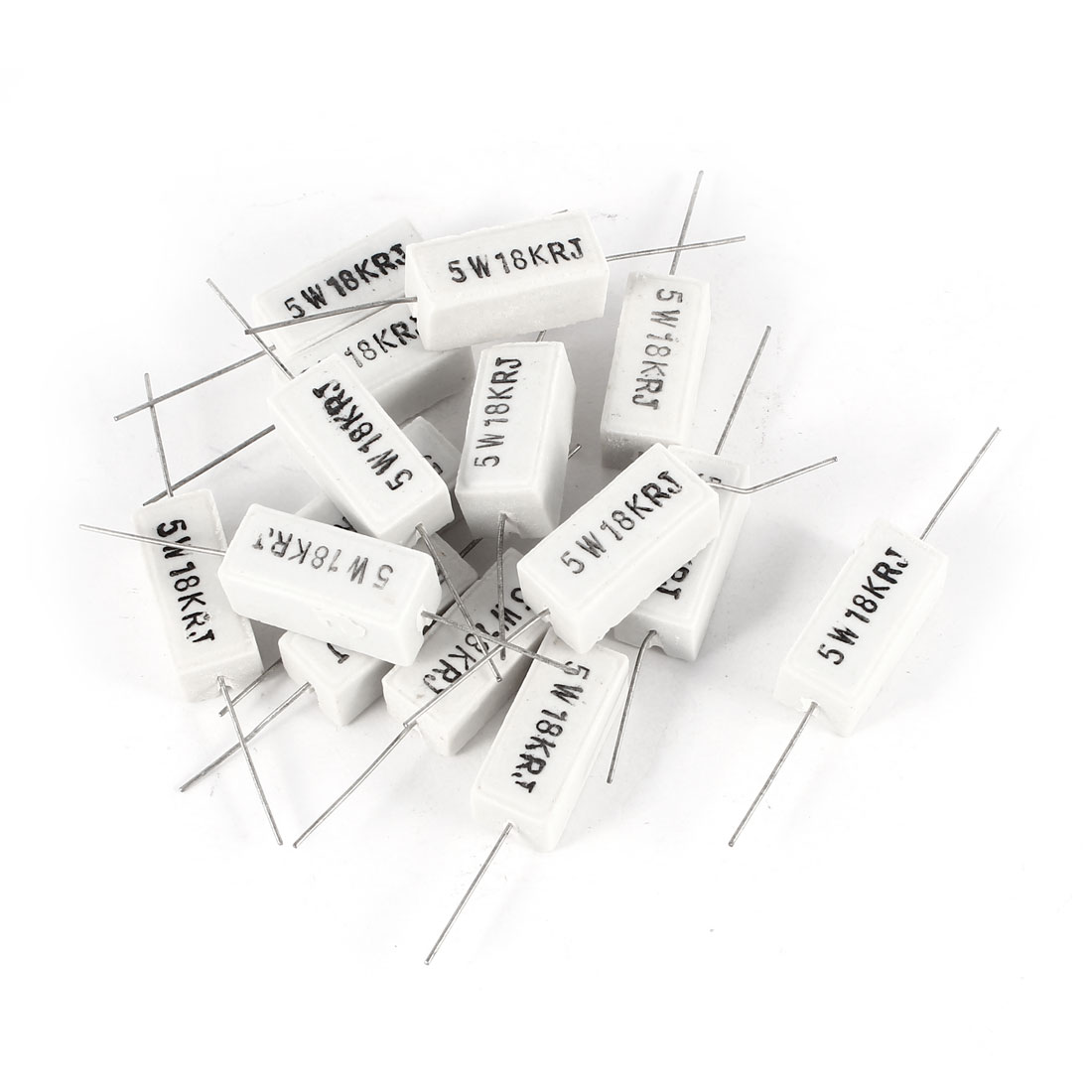 15 Pcs Axial Lead 5W Watt 18K Ohm 5% Ceramic Cement Power Resistor White