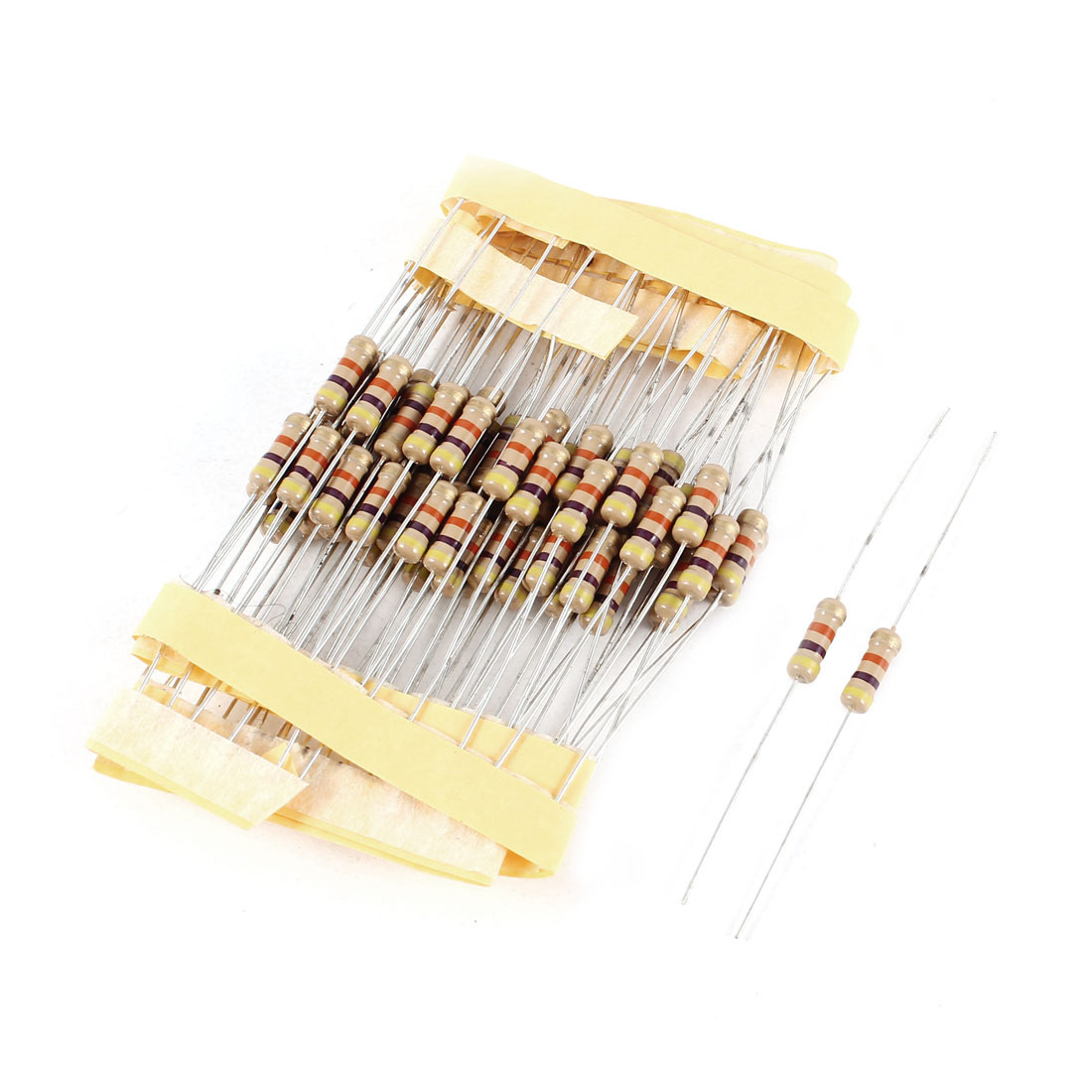 75 Pcs 0.5 Watt 47K Ohm 5% Tolerance Colored Ring Axial Lead Carbon Film Resistors
